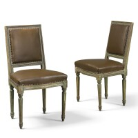 2. two pairs of louis xvi carved and green-painted chairscirca1775