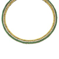 171. yellow sapphire, emerald and diamond necklace
