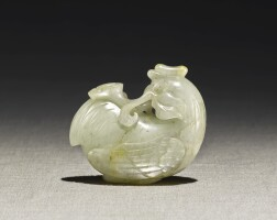 239. a pale celadon jade carving of a cockerel early qing dynasty |