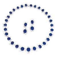 1787. sapphire and diamond demi-parure
