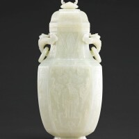 110. an exceptional and massive whitejade octagonal vase and cover qing dynasty, qianlong period |