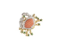 547. gold, coral, emerald and diamond brooch, tiffany & co.