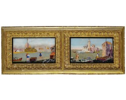12. a pair of small italian pietra dura landscapes with harbour views 18th century