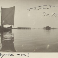 201. puccini, giacomo. autograph postcard written by puccini, signed by wife and husband