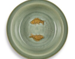 311. a large biscuit-decorated longquan celadon 'twin fish' basin yuan – early ming dynasty