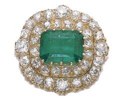 257. emerald and diamond brooch