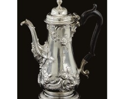 26. a royal george iii silver coffee pot, william shaw ii and william priest, 1753