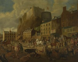 3. attributed to james howe | edinburgh castle from the grassmarket