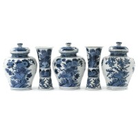 4. a large dutch delft blue and white five-piece garniture early18th century