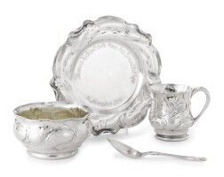 101. an american silver four-piece child's set, gorham mfg. co., providence, ri, retailed by thomas kirkpatrick, new york, martelé, 1899