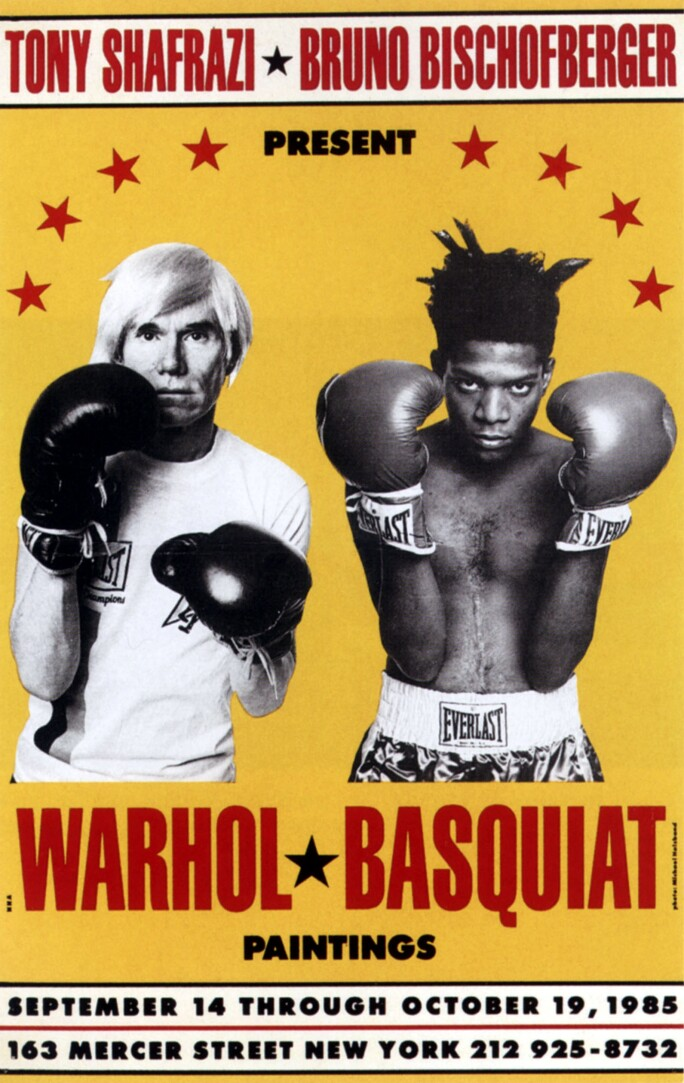 A bright yellow poster mimics a boxing match poster to announce an exhibition featuring Andy Warhol and Jean-Michel Basquiat.  Black-and-white photographs of Warhol (left) and Basquiat (right) show the artists wearing boxing gloves with fists up.