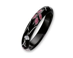 1707. black jadeite, ruby and diamond bangle