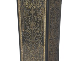396. a bronze mounted ebony and ebonized brass and tortoiseshell boulle marquetry style pedestal paris, late 19th century