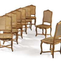 32. a suite of eight carvedbeechwood caned chairs, louis xv, circa 1740  