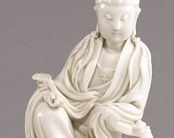 1506. a 'dehua' figure of a seated guanyin qing dynasty, 19th century |