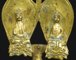 420. a very rare dated gilt-bronze buddhist votive shrine china, eastern wei dynasty, dated xinghe2nd year, corresponding to 540 ad