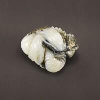 35. a white and grey jade 'mandarin ducks' group qing dynasty