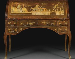 22. agerman gilt-bronze-and brass-mounted tulipwood, stained sycamore, burr wood,fruitwood, hollyand marquetrycylinder bureau by david roentgen (1743-1807), neuwied, circa 1773-75