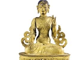 20. 十九世紀 西藏 鎏金銅白度母坐像