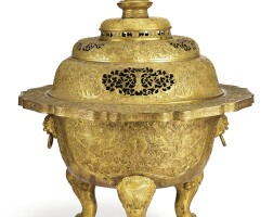 3630. a magnificent and large imperial gilt-copper repousse incense burner and cover qing dynasty, qianlong period