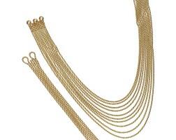 1. 18 karat gold 'draperie' necklace and bracelet, cartier
