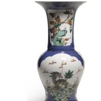11. a powder-blue ground and famille-verte yenyen vase qing dynasty, 19th century |