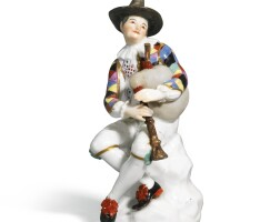 853. a meissen figure of harlequin, mid-18th century