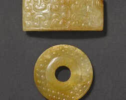 307. a brown jade sword pommel and a russet jade scabbard slide, wei western han dynastyand warring states period