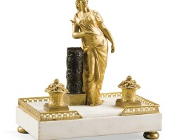32. a patinated gilt-bronze and white marble inkwell, circa 1800 |