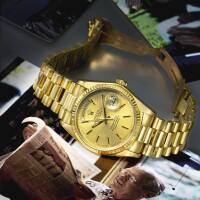 9. 勞力士(rolex) | 零售商為tiffany & co.:18038型號「day-date」罕有黃金自動上鏈鍊帶腕錶備星期及日期顯示,年份約1979。