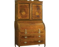 """368. a very fine and rare federal figured """"plum pudding"""" mahogany roll-top desk and bookcase, possibly by bankson and lawson, baltimore, maryland, 1785-1792"""