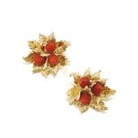 187. pair of coral brooches, cartier