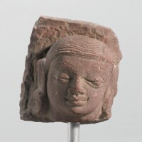 1304. a mottled red sandstone head ofa youth central india, mathura, 2nd century
