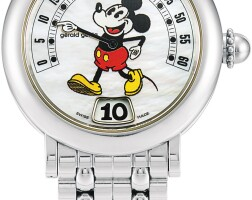 1. gerald genta | fantasy retro mickey mouse, reference g3632 a stainless steel jumping hour wristwatch with retrograde minutes, mother-of-pearl dial and bracelet, circa 1995