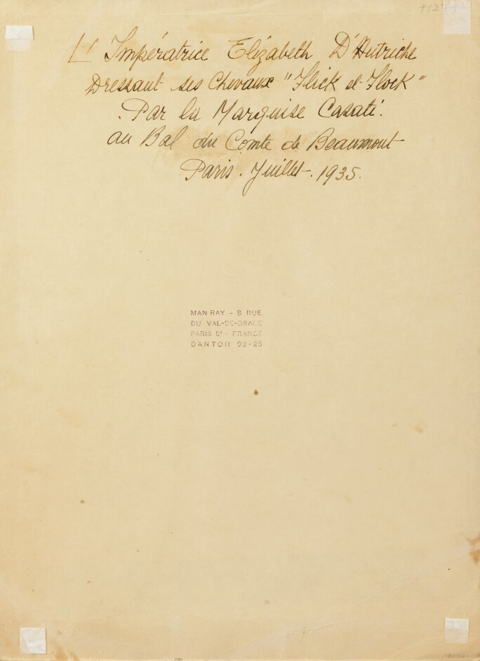 Text on the reverse of the card by an unknown hand. L'Imperatrice Elizabeth d'Autriche dressant ses chevaux « Flick et Flock ». Par la Marquise Casati au Bal du Comte de Beaumont, Paris Juillet 1935.