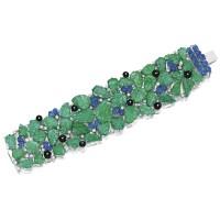1638. 祖母綠, 藍寶石配縞瑪瑙及鑽石手鏈