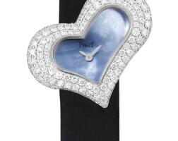 2047. 伯爵 | 「limelight piaget heart」白金鑲鑽石腕錶備珠母貝錶盤,錶殼編號p10257,序列號 930110,年份約2005。