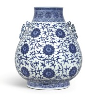3630. a large blue and white 'lotus' vase, hu seal mark and period of qianlong |
