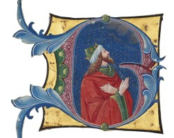 6. king david looking up to heaven, historiated initial from an antiphonary, in latin [italy (cremona), c.1480-90]