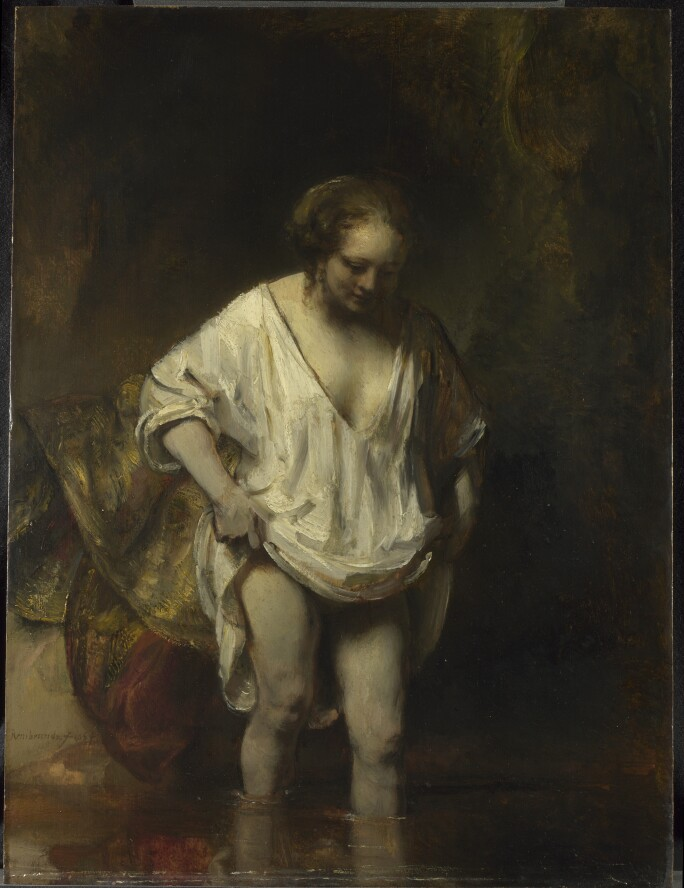 A Woman Bathing by Rembrandt