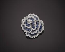 12. sapphire and diamond 'camellia' clip-brooch, van cleef & arpels