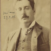 204. puccini, giacomo. fine sepia cabinet photograph signed