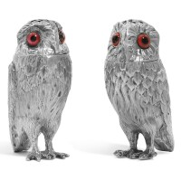 11. a matched pair of victorian novelty silver owl peppers, one g.j. richards, the other, richards & brown, london, 1850 and 1867