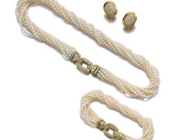 14. cultured pearl and diamond demi-parure and a pair of diamond ear clips, cartier