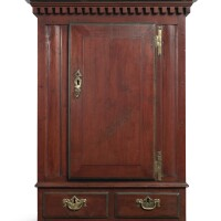 6009. chippendale carved and painted pine and poplar hanging wall cupboard, pennsylvania, circa 1795