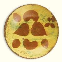 509. rare glazed red earthenware leaf silhouette resist plate, conrad kolb ranninger (1809-1869) montgomery county, pennsylvania, dated 1838