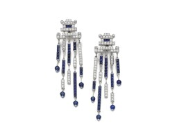 92. pair of sapphire and diamond earrings, cartier