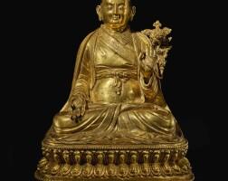 321. 藏漢 十六 / 十七世紀 銅鎏金薩千貢噶寧波坐像  