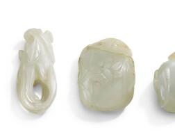 211. fourceladon jade fruit carvings qing dynasty, 19th century