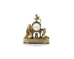 25. a french empire ormolu sculptural mantel clock, circa 1800
